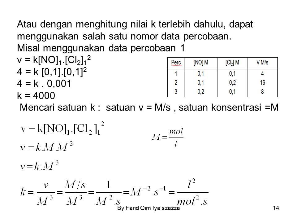 Misal menggunakan data percobaan 1 v = k[NO]1.[Cl2]12